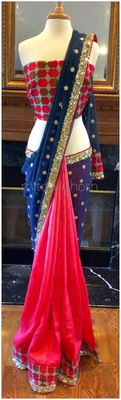 Shaded Raw silk Saree, printed border with sequins, georgette embroidered palla.