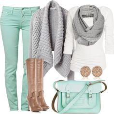 """Mint"" taupe boots with grey sweater? I never would've paired this together but it looks cute!"