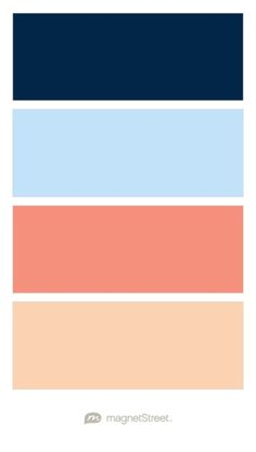 Navy, Sky, Coral, and Peach Wedding Color Palette | Wedding Color Trends | MagnetStreet Weddings