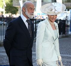Prince Michael of Kent and Princess Michael of Kent attend a service marking the 60th anniversary of the Queen's coronation at Westminster Abbey on 4 June 2013 in London, England