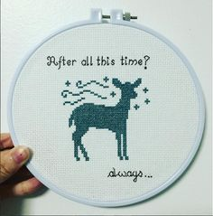 Completed Patronus Harry Potter cross stitch...just gorgeous! Look at those perfect stitches!