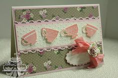 Tea shoppe Ink Pads:  pretty in pink classic and craft Cardstock: very vanilla, pink pirouette DSP: cant remember Punches: scalloped oval punch, eyelet border punch Tools: big shot machine, dotted embossing folder, heat gun to crinkle seam binding and to emboss Other: basic pearls, clear embossing powder,  pearl hat pin (non SU), prima rose (non SU)
