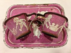 Vintage Children's Tin Tea SetTray and Two by VintagePrairieHome