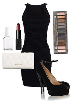 """""""Vanessa's Anniversary Dinner Outfit (D2C16)"""" by missupernatural ❤ liked on Polyvore featuring Chanel, Vera Bradley, NARS Cosmetics, Giuseppe Zanotti, Urban Decay and Essie"""