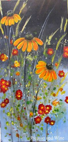 """Black Eye Susan"" Take home a wildflower bouquet with this masterpiece.  Let your inner artist shine at Picasso and Wine in Windsor. Sign up with your friends for a fun night, sip on some wine, and leave with a beautiful painting like this one! www.picass"