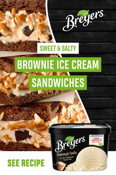 Introducing a snack that does it all! Made with Breyers Original Homemade Vanilla, brownie mix, and crushed pretzels, these Sweet and Salty Brownie Ice Cream Sandwiches will hit the spot. Tap the Pin for the full recipe. Brownie Ice Cream, Ice Cream Treats, Ice Cream Desserts, Frozen Desserts, Ice Cream Recipes, Sweet Desserts, Frozen Treats, Easy Desserts, Sweet Recipes