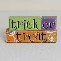trick or treat wooden blocks Halloween Wood Crafts, Halloween Letters, Halloween Home Decor, Halloween House, Fall Halloween, Halloween Party, Halloween Decorations, Harvest Party, Fall Harvest