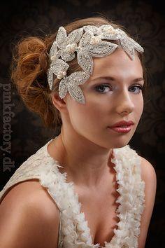 My Devine Cordelia statement hair piece -  extraordinary fascinator with rhinestone leaves and pearls. $120.00, via Etsy.
