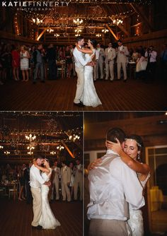 Bride And Groom Share Their First Dance During Barn Wedding Reception At Twin Silos In