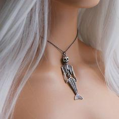 Skeleton Mermaid Gothic Necklace