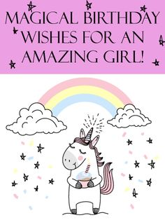 With a smiling unicorn holding a cupcake, a rainbow above and stars all around, this card is a magical way to wish an amazing little girl the best birthday ever! Its whimsical charm will put her in the mood for a celebration, and remind her that when she blows out the candles and turns another year older, so many people are thinking of her and hoping she enjoys every moment, most of all you. Girl Birthday Cards, Birthday Wishes Quotes, Birthday Greeting Cards, Birthday Greetings, Happy Birthday, Another Year Older, Birthday Reminder, Birthday Calendar, Wish Quotes