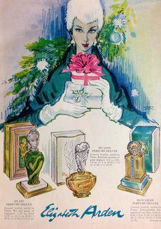 Elizabeth Arden Fragrance Ad, 1955 Retro Makeup, Vintage Makeup, Vintage Beauty, Vintage Ads, Vintage Posters, Makeup Ads, Art Posters, Perfume Ad, Laminas Vintage