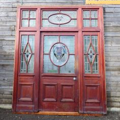 This magnificent pitch pine cased stained glass external door was reclaimed from Alder Hey Hospital in Liverpool following renovation works.  Beautifully detailed and wonderfully colourful with the light shining through it, this is the sort of feature worthy of building a house around! A perfect choice for anyone building a porch extension or similar.  #cheshire #reclamation #salvage #antiques #vintage #home #garden #design #interiordesign #furniture #antique #design #reclaimed