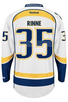 Nashville Predators Goalie Pekka RINNE #35 Official Away Reebok Premier Replica NHL Hockey Jersey (HAND SEWN CUSTOMIZATION)