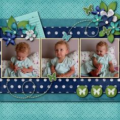 """""""Sunday Morning, Church Day""""  I love the flowers and shades of blue on this page. #scrapbooking101 #babyscrapbooks"""