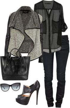 Stylish Grey Cardigan, Black Blouse, Pants, Handbag and High Heels for Fall