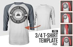 Mens 3-4 t-shirt mockup template psd