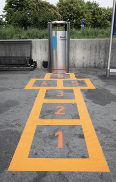 Hopscotch your way to the garbage. Creative campaign in Switzerland to take action against littering.
