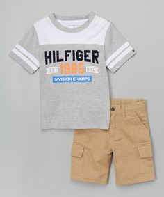 Another great find on #zulily! Gray & White 'Hilfiger' Tee & Khaki Shorts - Infant & Kids #zulilyfinds