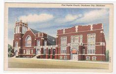 First Baptist Church Oklahoma City OK Linen Postcard   eBay