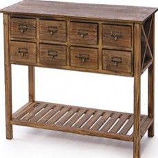 Apothecary Wooden Console Table    $242.00  @ http://www.antiquefarmhouse.com/current-sale-events/farmhouse-chic.html