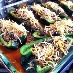 Quinoa & Black Bean stuffed Poblanos-  Vegetarian; great as a meal or a side dish!! Makes 8 servings of 1/2 pepper stuffed:  Nutrition per serving: WWpp+ 3 Calories 121.1 ~Total Fat 2.4 g~ Saturated Fat 0.8 g ~ Cholesterol 5.0 mg ~ Total Carbs 17.1 g ~ Dietary Fiber 3.9 g ~ Protein	6.6 g