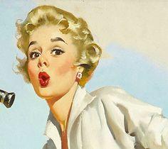 Gil Elvgren Vintage Illustration Art, Vintage Artwork, Character Illustration, Pin Up Drawings, Cute Drawings, Blond, Universe Art, Character Design Animation, Pin Art