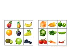 Tiles for the fruit/vegetable sorting game. Find the belonging board on… Paper Doll House, Paper Dolls, Sorting Games, Tiles, Fruit, Vegetables, Health, Food, Special Education