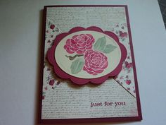 Just for You Card-stamp set from SU Just Because was used and papers are SU for the card base of dark red and the two prints are from My Mind's Eye in a paper pack called Lost & Found. TFL   My blog is: cardcornerbycandee.blogspot.com