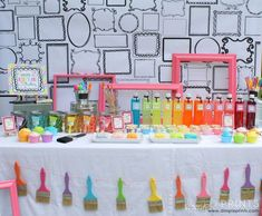 Girly Art Party With So Many Cute Ideas via Kara's Party Ideas Kids Art Party, Craft Party, Artist Birthday Party, Birthday Party Themes, Birthday Ideas, Birthday Table, Ciel Art, Art Themed Party, Music Party