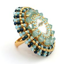 Ring Beaded Swarovski Crystal Cocktail Ring by vantageJewellery, £25.00
