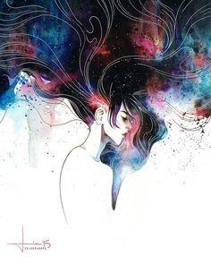 draw, galaxy, girl, hair