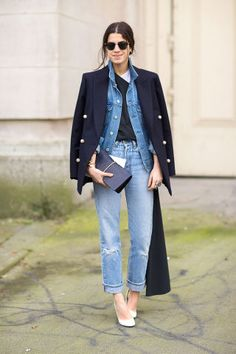 60 fall outfit ideas to start wearing now: Leandra Medine. A denim jacket and a blazer—for those days when you've got one foot in the workplace and the other already clocked out for the weekend.