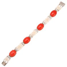 1stdibs - Coral Diamond & Pearl Bracelet explore items from 1,700  global dealers at 1stdibs.com