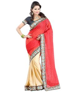Indian House Rich Looking Red Colour Jacquard Saree Online At Aimdeals.com - 01