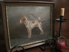 Antique 1800s Oil on Canvas Portrait of a Terrier Dog Signed G. Earle Offerings from North Bayshore Antiques SOLD by North Bayshore Antiques $550.00