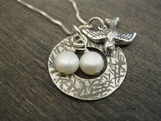Sparrow Nest Sterling Silver Mama Bird Nest Necklace READY TO SHIP