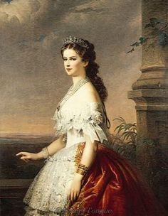 "Portrait by unknown artist in a jeweled frame of Empress Elisabeth ""Sissi"" (Elisabeth Amalie Eugenie) Dec Sep Bavaria in white lace & ribbon dress & diamond Tiara. Sissi was the wife of Emperor Franz Joseph I Aug Nov Austria. European History, Women In History, Austria, Empress Sissi, Stars D'hollywood, Kaiser Franz, Fresca, Miniature Portraits, Victorian Art"
