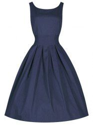 Vintage Scoop Collar Sleeveless Solid Color Midi Dress For Women (PURPLISH BLUE,M) | Sammydress.com Mobile