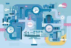 Tiempo de Relojes (México) Magazine: Miami & watches Illustration by Del Hambre https://www.behance.net/gallery/34486261/TR-MEXICO-MAG-Miami-watches