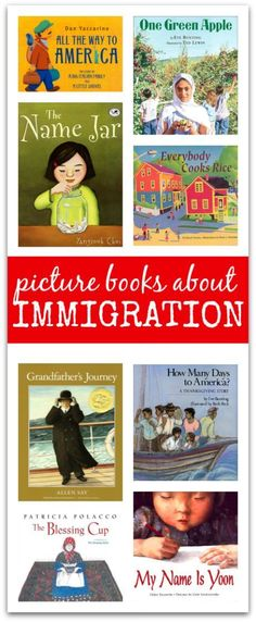 This is another collection of children's books that discuss immigration. It is important to have a variety of books that you can read aloud or have around the classroom for your students to read or look at. Kids Reading, Teaching Reading, Reading Nook, Learning, Reading Lists, Reading Time, Reading Strategies, Teaching Social Studies, Mentor Texts