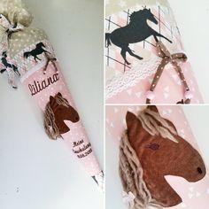 Hier bekommtst du eine klassisch runde Schultüte im verspielten Pferde-look. Verziert ist die Schultüte mit einer weißen Zackenlitze und einer süßen Schleife. Die romantische Farbkombination in...