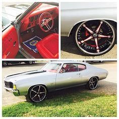 72 chevelle silver grey red interior. forgiato 5 star wheels