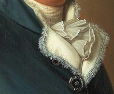 Particolari di opere: Ritratto diel signor Lyttkens. Adolf Ulrik Wertmuller: olio su tela del 1788. Locazione sconosciuta. Il collo della giacca è foderato di tessuto bianco con una piccolissima frangia e da questo esce la cravatta a sciarpa. Il colore azzurro scuro valorizza tutto, anche i bei bottoni d'argento.