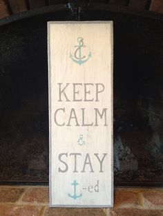 anchor, distressed, turquoise, keep calm, home decor, hostess gift, wedding gift, chalk paint, whitewash/grey border/ grey text. Created by TotallyADrift.com