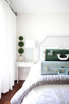Vintage suitcases can double as decor