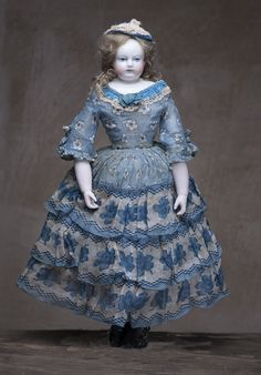 "14"" (43 cm) Rare Wonderful  French Early Porcelain Poupee Doll by Adelaide Huret in Fine Antique Costume, ca.1855."