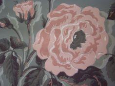 c1940s Joliet Vintage Wallpaper Pink Cabbage ROSES by FSBstudio, $10.99