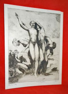 Antique Marco Zim Russia Large Etching 1930 The New Day Nude Male Female Erotic