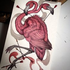 "A new ominous flamingo piece, ""Portentous Visions"", 7"" by 11.5"", in my shop today at www.caitlinhackett.storenvy.com"